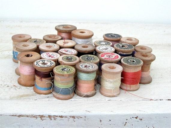 Vintage  Wood Thread Spools - Large Lot