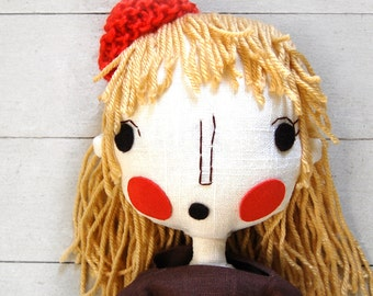 Rag Doll, Fabric Doll, Cloth Doll, Handmade Girl Rag Doll, Custom Doll, Art Doll, Anniversary Gift Idea, Girl Gift, Custom Portrait Doll