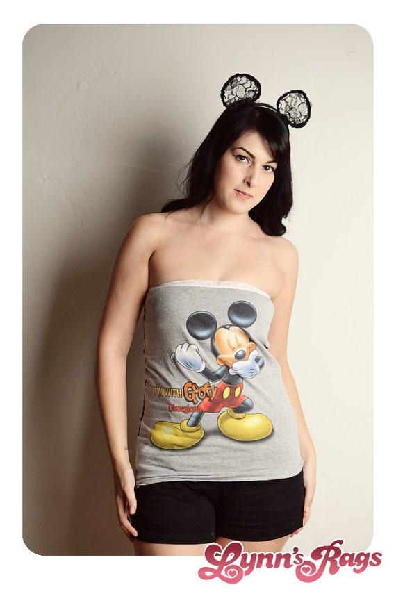 MICKEY MOUSE Disney Tube Top Handmade Shirt Polka Dot