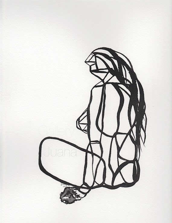 abstract figure III, female, sumi ink line drawing