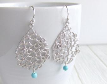 Sea Fan Teardrop Turquoise Jewelry Earrings - Silver Plated / Sterling Silver Earrings