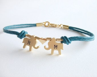 Elephants Jewelry Bracelet - Two Elephants - 14K Gold Plated - Initialized Personalized Jewelry - Christmas Gift - Gift for Her