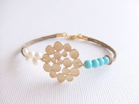 Seaside Bubble Jewelry Bracelet, 16K Gold Plated, Freshwater Pearls, Turquoise Beads, Beach Inspired, Seashore, Under 25