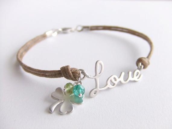 Love Shamrock Jewelry Bracelet - Emerald Gemstones - August Birthstone Peridot Jewelry