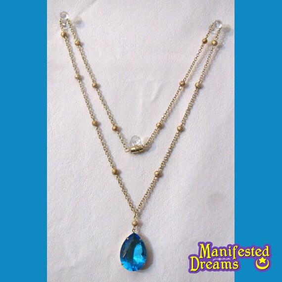 Blue Crystal Necklace Princess Mercury gold tone Sailor Moon cosplay