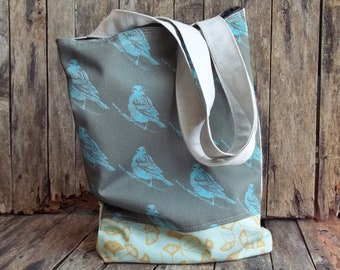 Olive Bird Tote - Ginko Leaves - 2 Pockets