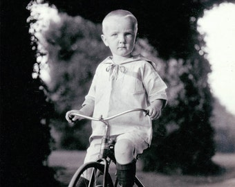 Vintage photo print Little DAvid Rides Old Fashioned Tricycle fine art photograph