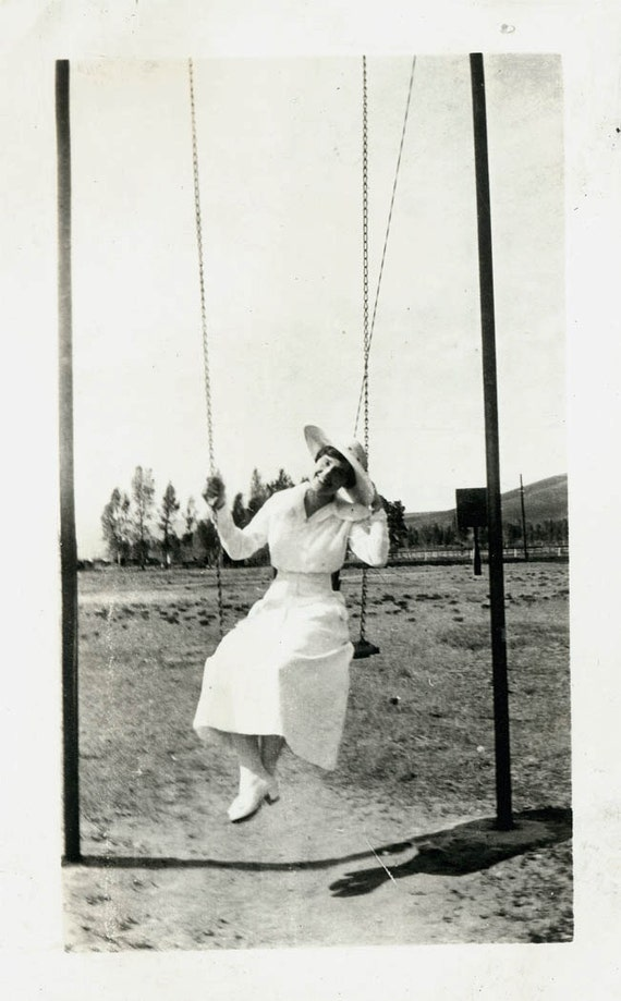 vintage photo Woman in Swing HOw I spend my Time