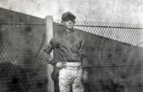vintage photo 1910 Horse Jocket by Gate