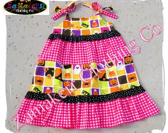 3t 3 4t 4 ONLY CLEARANCE SALE Girl Halloween Dress Tiered Ruffle Dress Trick or Treat Candy Pink Halloween Dress size 3T 3 4T 4