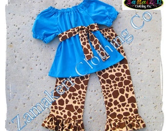 Custom Boutique Clothing Aqua Blue Peasant Top Giraffe Ruffle Pant Bottom Outfit Set 3 6 9 12 18 24 month size 2T 2 3T 3 4T 4 5T 5 6 7 8