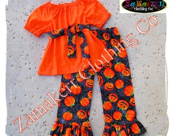 Custom Boutique Clothing Girl Fall Outfit Set Pumpkin Halloween Orange Pageant Gift Top Pant 3 6 9 12 18 24 month size 2T 3T 4T 5T 6 7 8