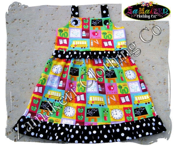 Back To School Girl Dress - School Girl Ruffle Dress - Girl Back to School Clothing 3 6 9 12 18 24 month size 2T 2 3T 3 4T 4 5T 5 6 7 8
