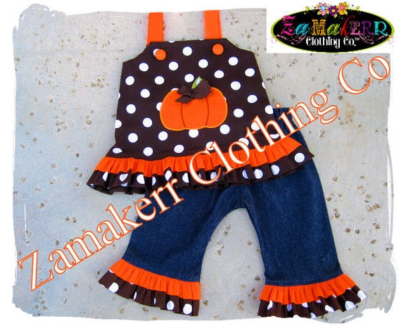 Custom Boutique Girl Pumpkin Thanksgiving Fall Dress Clothing Outfit Set Birthday Halloween Pant 3 6 9 12 18 24 month size 2T 3T 4T 5T 6 7 8
