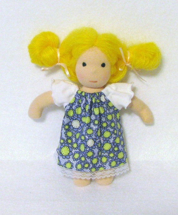 8 inch Waldorf doll's peasant dress in blue