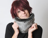 Faux fur cowl - Grey fake fur neckwarmer - Winter scarf in silvery gray