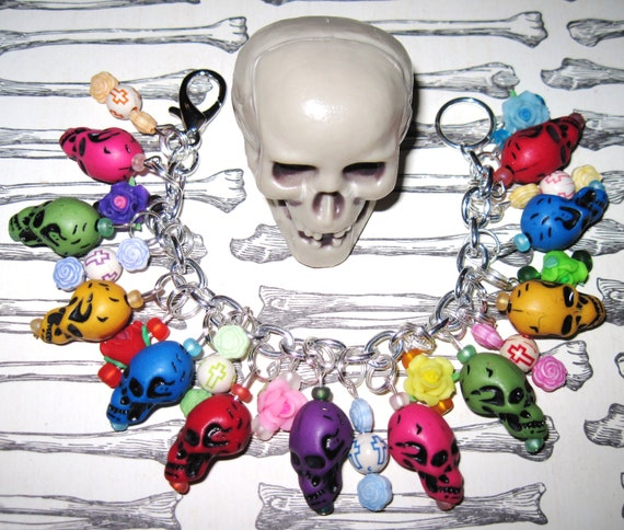 Sugar Skull Bracelet Day of The Dead Charm Bracelet Sugar Skull Jewelry Dia De Los Muertos Bracelet Mexican Themed Jewelry Rainbow Skulls