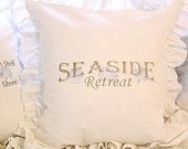Made to Order White Linen Blend Ruffled SLIP COVER Brown Seaside Retreat Design