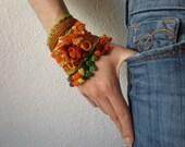 Eucalyptus Ficifolia   ... Freeform Crochet Cuff - Flowers -  Orange Yellow Chartreuse Green Burgundy - Beaded Beadwork