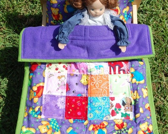 Doll Quilt, Pillow and Pillow Case Set - Bears Reading Books on Purple - Ready to Ship