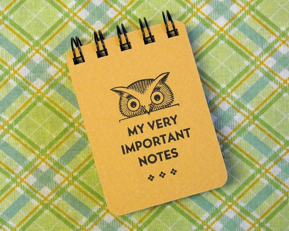 Letterpress Journal -  Spiral Bound Sketch Book - ACEO ATC sized - Little Owl