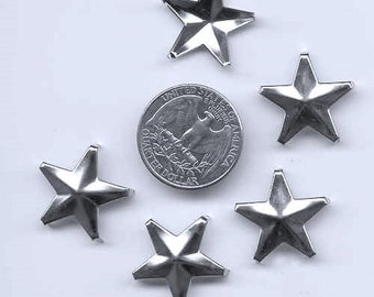 """50 Star Studs, 7/8"""" 22mm, 5 Prongs, Leather Crafting DIY Clothes Customize"""