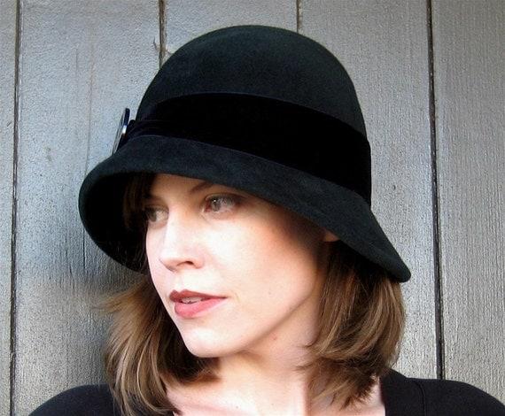 Dark Green Felt Cloche Hat, Midnight Blue Trim, Handmade Millinery Women's Hat, Kensington