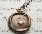 Wax Seal Tell Me Yes Necklace in bronze - Antique French Wax Seal Jewelry - French Heart & Dagger - love