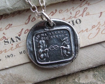 """Wax Seal Necklace """"The Greater the Distance the Closer the Tie"""" Italian motto wax seal pendant - love is the tie that binds - IS295"""