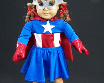 Miss America Super Hero Cosplay costume Doll clothes for American Girl Doll