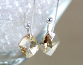 Bridal Swarovski Earrings Golden Shadow Cosmic