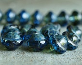 Picasso Saturn Bead Sapphire Czech Glass Bead 8x10mm Flying Saucer Bead :  10 pc Blue UFO Bead