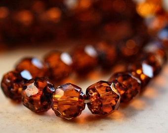 Dark Topaz Picasso Czech Glass Bead 6mm Renaissance Bead : 25 pc Topaz Renaissance