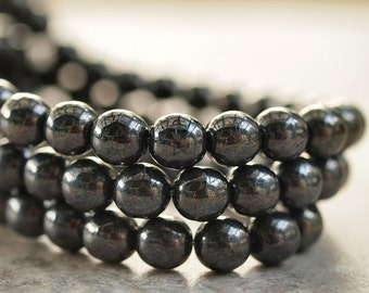 Gunmetal Czech Glass 6mm Round Druk Bead : 30 pc