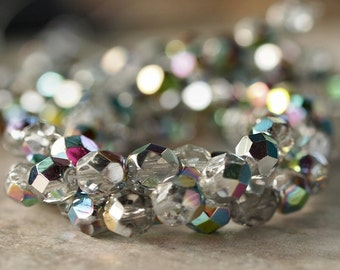 Crystal Marea Czech Glass Bead 6mm Faceted Round - 25 pc