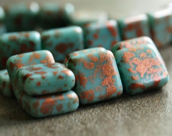 Turquoise Copper Czech Glass Bead 10mm Square : 10 pc Turquoise Square Bead