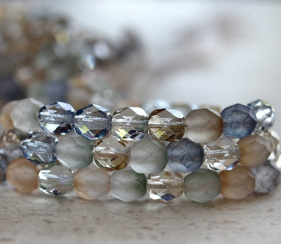 Beach Glass Czech Bead 6mm Faceted Rounds : LAST Full Strand 25 pc