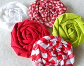 "Fabric Flowers Rolled Roses Fabric Applique Peppermint  Christmas Pinwheel Lollipop Bobby Pin Rosette 1"" Scrapbook Handmade Wholesale 20"