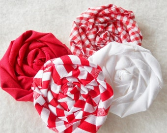 "Fabric Flowers Rolled Roses Peppermint Fabric  Applique Christmas Lollipop Bobby Pin Photo Prop Rosette 1"" Scrapbook Red White Wholesale 20"