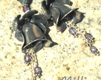 Double Flowers Earrings, Sterling Silver and Silver Plated with amethyst glass FREE SHIPPING
