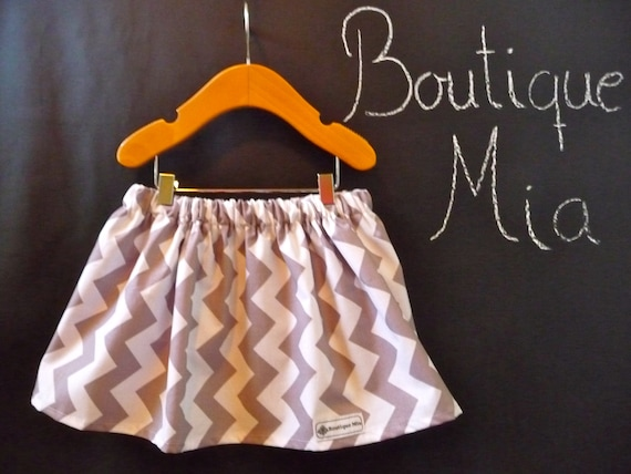 SAMPLE - Children Skirt - Grey Chevron - Will fit Size 2T up to 4T - by Boutique Mia and More - Ready To Ship