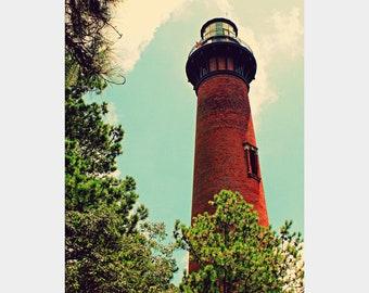 Currituck Lighthouse Photo, Brick Lighthouse Photo, Outer Banks Wall Art, Nautical Photograph, Coastal Wall Art, Corolla Photo, Bold Art