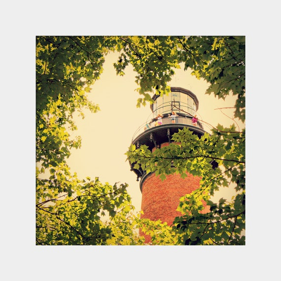 Outer Banks Lighthouse Photo, Green Orange Print, Orange Brick Lighthouse, Green Leaves Art, Currituck Lighthouse, Corolla Photograph