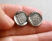 Initial Post Earrings in Fine and Sterling Silver Melted Wax Seal Style - Custom Made to Order