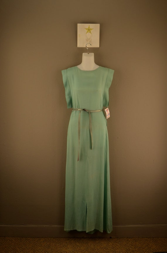 1930s silk kimono style gown 30s floor length dress Aqua hollywood glamour Starlet art deco size small