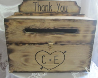 Wedding Card Box Rustic Keepsake Chest Wood burned Stained Personalized Custom Reception Wooden box for cards - Engraved heart and initials