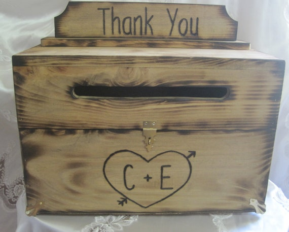 Rustic Wedding Card Box Keepsake Chest Woodburned Stained Personalized Custom Wood