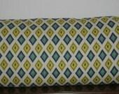 Decorative Body Pillow Cover FREE DOMESTIC SHIPPING - Approx 20 X 54 inch Yellow, Green, Blue Ikat Geometric Diamond