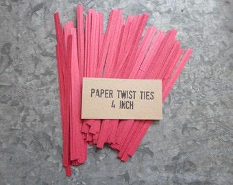 Red Paper Twist Ties, Candy Bag Ties, Paper & Wire Ties, 100 Twist Ties