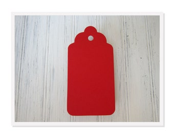 50 Red Luggage Tags, Escort Cards, Gift Tags, Scalloped Craft Tags, Escort Tags, Wedding Tags, B01